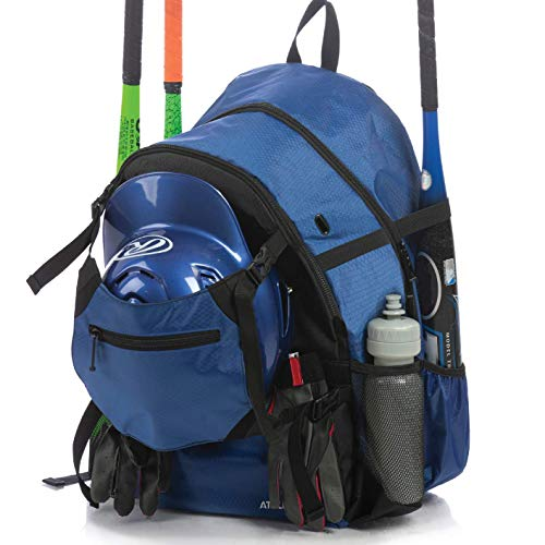Athletico Advantage Baseball Bag - Baseball Backpack with External Helmet Holder for Baseball, T-Ball & Softball Equipment & Gear for Youth and Adults | Holds Bat, Helmet, Glove, Shoes (Blue)