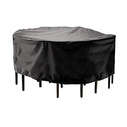 Huolirong Funda Protectora para Muebles De Mesa Circular Impermeable Servicio Pesado Redondo Funda De Protección, Negra Muebles De Jardín Funda (Size : 185x110CM)