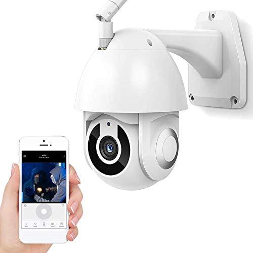 Cámara de Vigilancia WiFi Exteriores,Cámara de seguridad IP,Cámara PTZ CCTV 1080P HD,visión nocturna 30m,seguimiento de movimiento,alarma,voz de 2 canales,IP66 impermeable (Cámara+tarjeta TF de 32G)