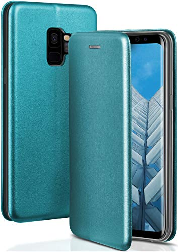 ONEFLOW Handyhülle kompatibel mit Samsung Galaxy S9 - Hülle klappbar, Handytasche mit Kartenfach, Flip Hülle Call Funktion, Klapphülle in Leder Optik, Blau