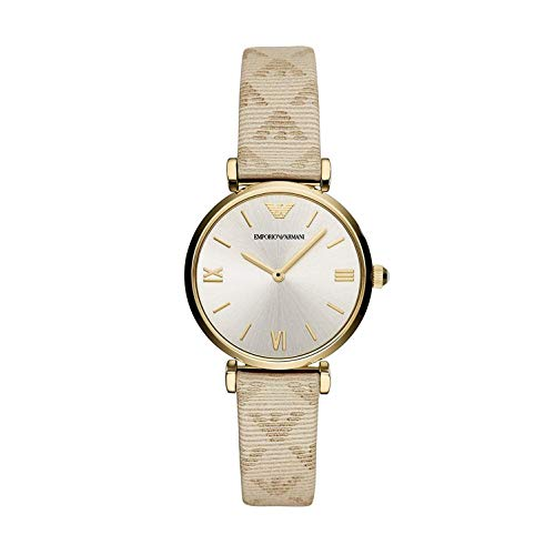 Emporio Armani Damen Analog Quarz Uhr mit Leder Armband AR11127