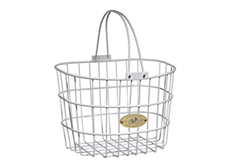 Nantucket Bicycle Basket Co. Surfside Adult Wire D-Shape Basket, White