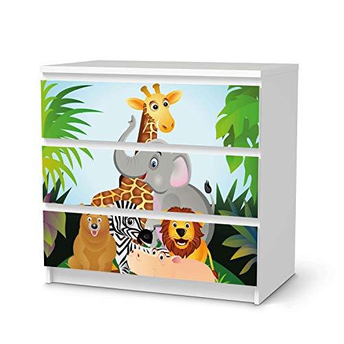 creatisto Möbel Klebefolie für Kinder - passend für IKEA Malm Kommode 3 Schubladen I Tolle Möbelfolie für Kinder-Möbel Deko I Design: Wild Animals