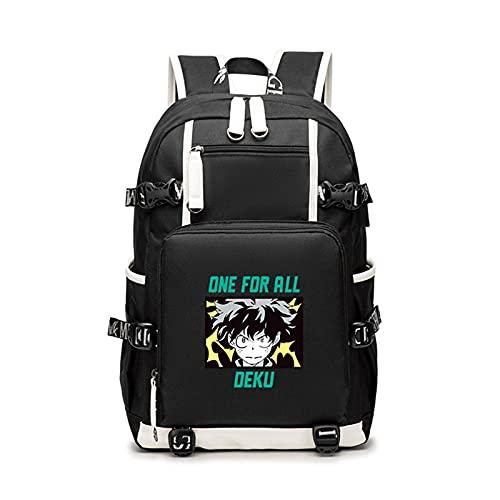 WWZY Anime My Hero Academia Mochila Escolar para Hombre Mujer Bolsa de Escuela con Puerto de Carga USB Animados en Mochilas Portatil Backpack Daypack para Estudio, Viajes, Trabajo,Actividades,B