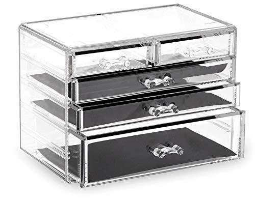 BINO 5 Drawer Acrylic Jewelry and Makeup Organizer, Clear Cosmetic Organizer Vanity Storage Display Box Make Up Organizers And Storage Makeup Stand