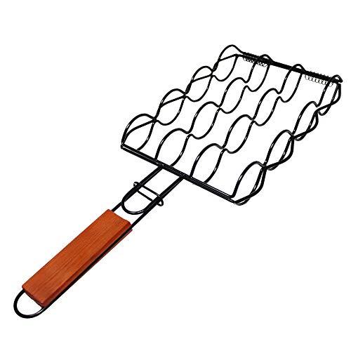 ToCis Big BBQ Maiskolbenhalter Grillwender für Maiskolben aus Metall | Grill-Zubehör Grillzange Maiskolbengriller mit Griff aus Holz
