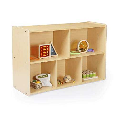 Guidecraft 5-Compartment Storage Shelves 30' - Toddler's Wooden Organizer Cabinet for School, Home or Daycare - Teacher's Book Cubby and Toy Shelf