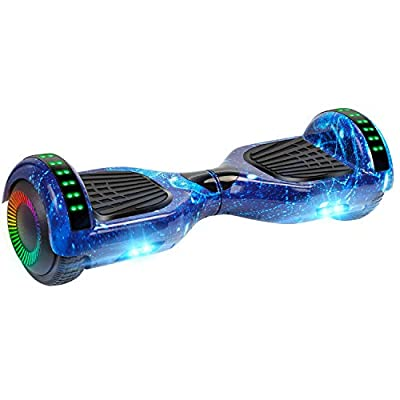 "UNI-SUN Fun Series Hoverboard for Kids, 6.5"" Self Balancing Hoverboard with Bluetooth and LED Lights, Bluetooth Hover Board, Star Blue"