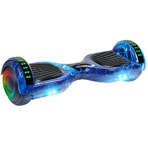 """UNI-SUN Hoverboard for Kids, 6.5"""" Self Balancing Hoverboard with Bluetooth and LED Lights, Bluetooth Hover Board (Bluetooth Star Blue)"""