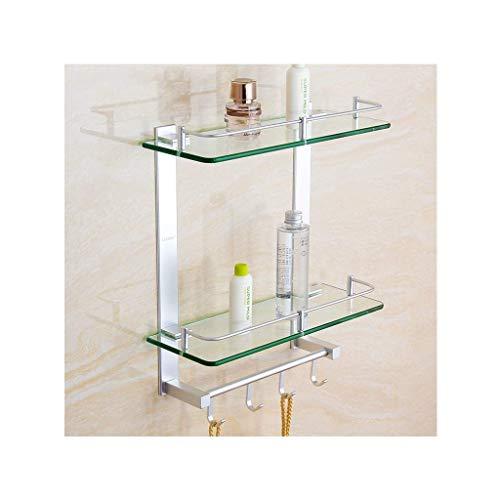 BALLYE Organizador de Cesta Rectangular con Estante de Vidrio para baño, estantes de Vidrio de 2 Niveles con 2 Barras de Toalla y Ganchos