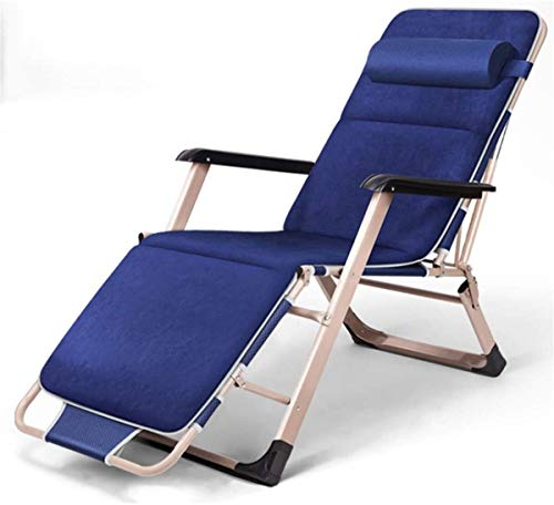 Classic Lounge Chairs Sun Lounger/Folding Reclining Chair, Zero Gravity Ergonomic Home Lounger Chair Beach Lawn Portable Deck Chair (Color : Gray) 【Upgrade】 (Color : Blue)