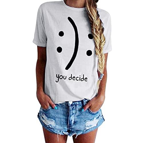 BLACKMYTH Women's T-Shirts Cotton Funny Grahpic Design Casual Short Sleeve Top Tees White Medium