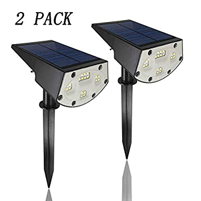 YUNNI Solar Spotlights Outdoor, 20LED Landscape 2-in-1 Wall Light, IP65 Waterproof Wireless Lighting for Garden Pathway Yard Pool (Cold White, 2 Pack)