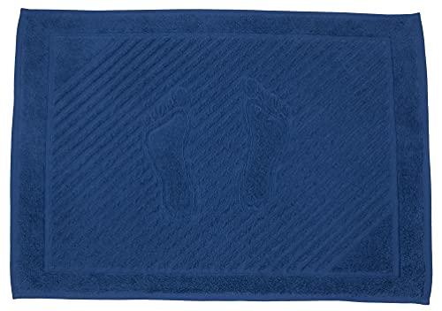 STRATO COTTON - 2 Alfombrillas de baño 50 x 70 cm 100% algodón Natural 750 g/m², Lavable y Absorbente, Toalla de pies Ducha, 2 Paquete, Azul Clásico.