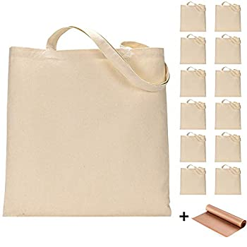 12 Pack Blank Canvas Tote Bags Bulk Shopping Bag for Crafts with 1 Piece of PTFE Teflon Sheet DIY Reusable Grocery Bag 15 X 16 Inch