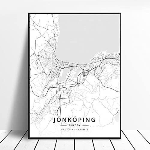 Lund Halmstad Stockholm Tumba Östersund Örebro Jonkoplng Sweden Canvas Art Map Poster ?ZQ-1706? Ingen ram poster 40x50cm