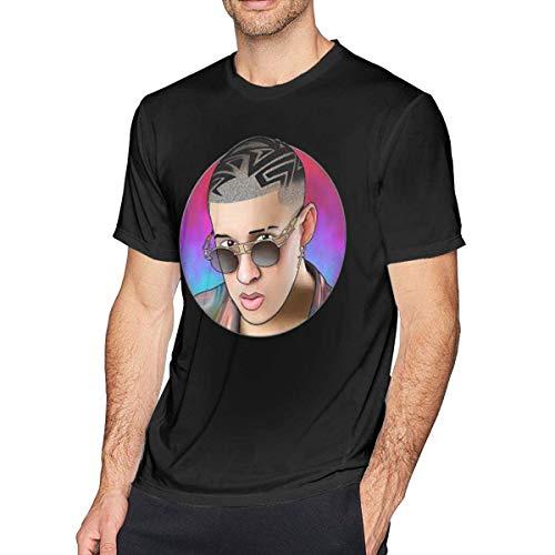 Pimkly Camisetas y Tops,Polos y Camisas Bad Bunny Men's Short Sleeves Casual T-Shirt Black