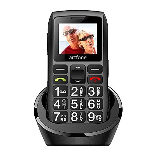Artfone Senior Series Móvil para Personas Mayores con Teclas Grandes,con Doble SIM y SOS Botón, Batería de 1400 mAh, Base de Carga, 2G