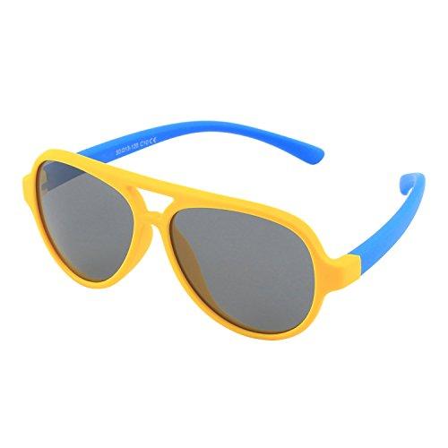 CGID CGID' Gummi Flexible Kinder Polarisierte Fliegerbrille Pilotenbrille für Baby und Kinder im Alter von 3-6, K93