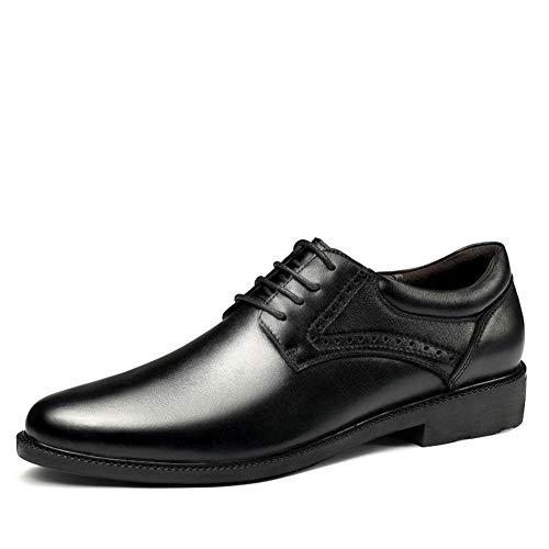Zapatos formales de Oxford para hombre con cordones de piel sintética y puntera redonda, suela de condón, costuras antideslizantes, aumento de altura (color: negro, talla: 45 EU)