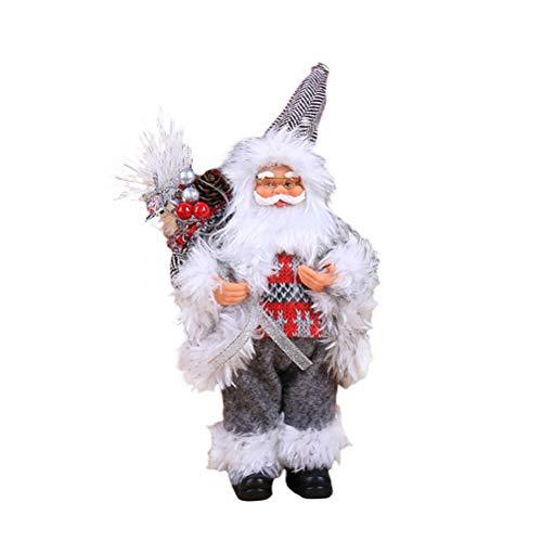 Kappha Muñeco de Papá Noel Figura de decoración navideña Juguete Lindo de Papá Noel Decoración navideña, 30X12cm