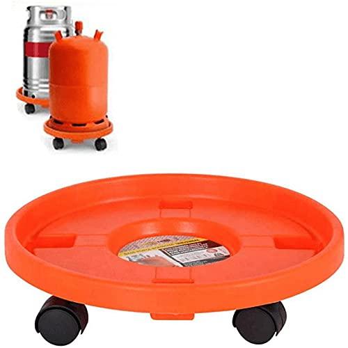 Acan Portabombonas para trasporte butano de Color Naranja y de 33,5 cm de diámetro y 7,5 cm de Alto con 4 Ruedas, Soporte para bombonas con Ruedas bidireccionales de plástico,