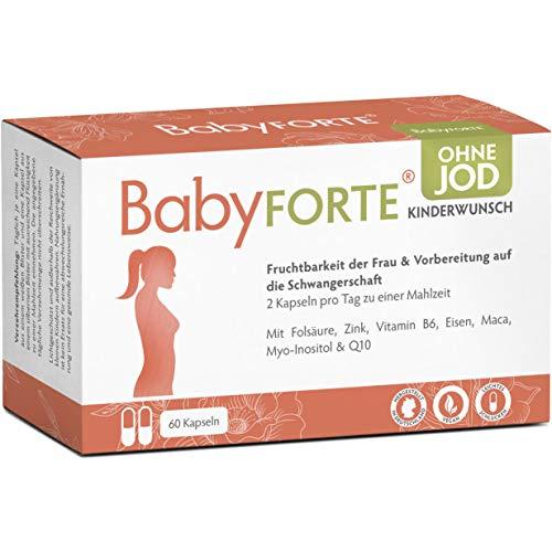 BabyFORTE Kinderwunsch Vitamine OHNE JOD - 60 Kapseln - Vegan - 17 Nährstoffe + Folsäure, Myo Inositol, Q10 + Vitamine Schwangerschaft ohne Jod