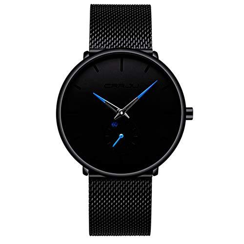 CRRJU Reloj para Hombre, Extensible de Metal Malla, Broche de Presión Ajustable, Ejecutivo, Deportivo,…