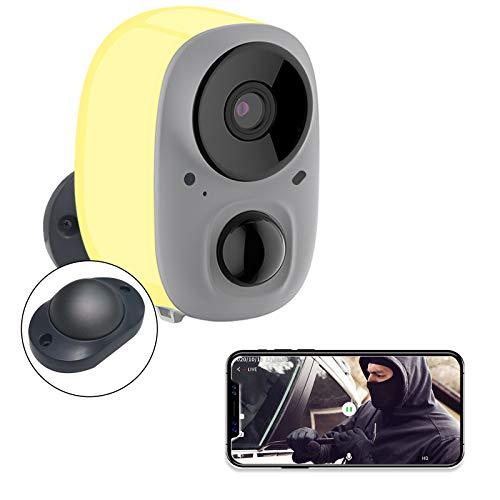 YIROKA Überwachungskamera Aussen Akku Kabellos, AI-Benachrichtigung, 1080P WLAN IP Kamera, Aktivitätszone, Cloud-Speicher, Max. 128GB SD Karte, 2,4GHz WiFi, IPX6 Wasserdicht, mit Bewegungsmelder, Gelb