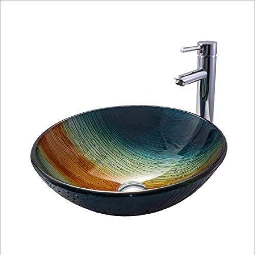 WY-YAN Baño Lavabo de cristal templado sobre el lavabo contrario baño lavabo del arte redondo fino lateral Lavabo Hermosa práctica (Color : Blue)