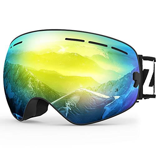 ZIONOR Lagopus X Skibrille Verspiegelt OTG Design Snowboard Brille für Herren Damen mit Abnehmbarem Linsensystem Kugelförmiger Schneebrille UV-Schutz Anti-Fog Weiter Winkel