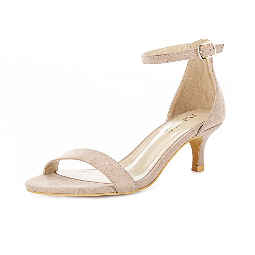 Eunicer Women's Open Toe Ankle Strap Low Heel Stiletto Pump Sandals Working Party Shoes