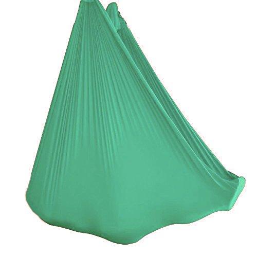 Wellsem Deluxe 5m Aerea Yoga Hammock del Tessuto di Seta Pilates Volare Yoga Altalena per Yoga Bodybuilding (5mx2.8m) Verde Chiaro