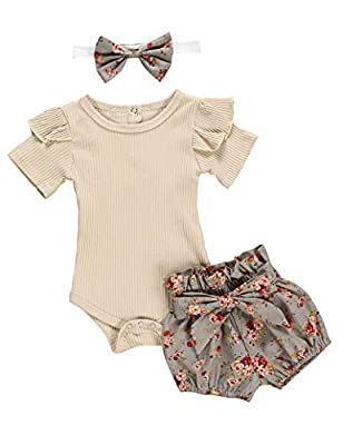 Newborn Baby Girls Clothes Floral Sleeve Romper+ Floral Short Pant 3pcs Summer Outfit 3-6 Months Apricot by