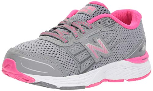 New Balance Girls' 680v5 Running Shoe, Steel/Pink Glo, 10.5...