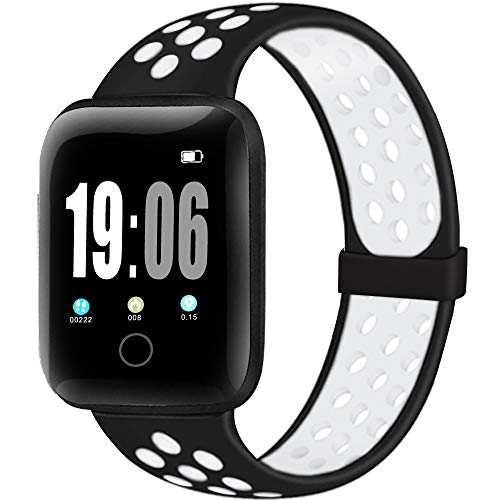 ElaikementSport Band Compatible for Watch Bands 38mm 40mm 42mm 44mm Women Men, Breathable Soft Silicone Replacement Strap Compatible for Watch Series 6/5/4/3/2/1/SE, 42mm 44mm S/M-BlackWhite