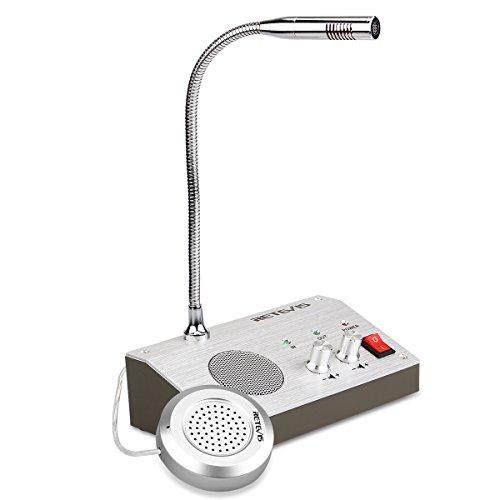 Retevis RT9908 Interfono Anti-Interferenza, Interfono da Sportello Bancario Finestra Sistema, Doppia-Via Microfono Walkie Talkies, 220V Microfono per Sportelli Silenziamento Automatico,Scuola,Banca,Ospedale (1 Pezzi)