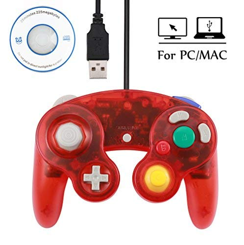 Mekela 5.8 feet Classic USB Wired NGC Controller Gamepad resembles Gamecube for Windows PC MAC (USB Clear Red1)