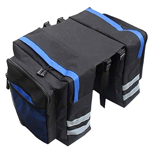 LA TALUS Multifuction Bicycle Expedition Cam Pannier with Reflective Trim, Portable Bike Saddle Bag Large Capacity Bike Rear Seat Saddle Bags for Bicycle Rear Rack Carrier Blue
