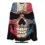 Professional Hair Cutting Cape,Dominican Flag Skull Salon Barber Cape, Hair Cutting Accessories