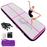 HIJOFUN Inflatable Gymnastics Tumble Mats Premium Air Tumbling Track Mat 13ftx3.3ftx8in for Home Kids/Gym/Yoga/Training/Cheerleading/Outdoor/Beach/Park with Electric Air Pump Pink Black