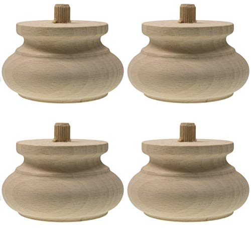 Mobelfusse Holz 4 x Ø90 / 55mm Möbelfüße Kugelfüße Holz Möbelfuß Schrankfüße Schrankfuß BUCHEN HOLZ