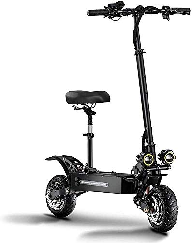 Portable Electric Scooter Adult, Oil Brake + EBAS Electronic Brake, Foldable Electric Scooter Adult Scooter, 11 Inch 60V Dual Drive High Spee'd Off-road High Power LATT LIV