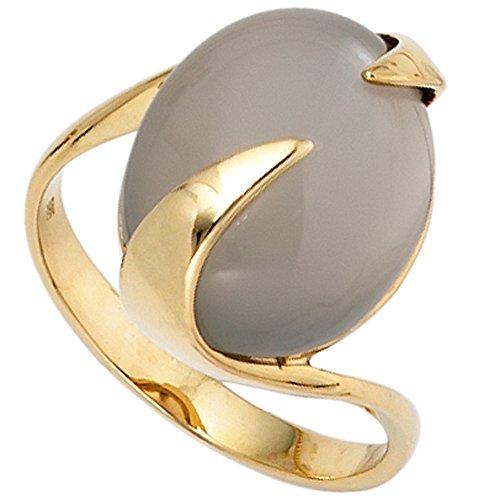 JOBO Damen-Ring aus 585 Gold mit Mondstein-Cabochon Größe 60