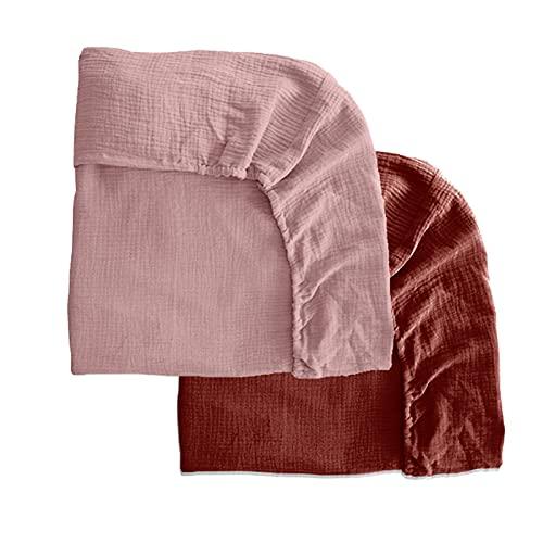 Pack 2 sábanas bajeras para moisés o capazo de Cochecito, sábanas Ajustables de Muselina Recambio Bajera Carrito bebé. Vestiduras moisés. Mimuselina (Rosa-Teja)