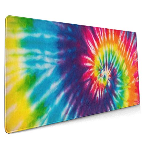 XXL Mouse Pad Rainbow Tie Dye Blue Red Yellow Gaming Mouse Pad, Mouse Pad for Women, Extended Mouse Pad, Keyboard Mouse Pad, Long Mouse Pad, Laptop Mouse Pad, 90x40 Mouse Pad Non-Slip