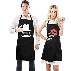 Uarter Schürze Set Küchenschürze Kochschürze Verstellbare Baumwolle Couples Küche Schürzen, Schwarz (2 Stücke)