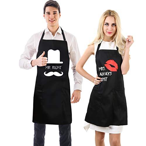 Uarter Tablier Set Tablier de cuisine Tabliers de cuisine ajustables en coton, noir, 2 pièces