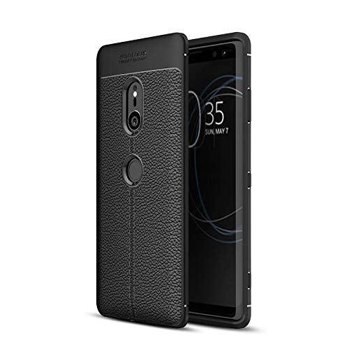 Cruzerlite Sony Xperia XZ3 Coque, Flexible Slim Case with Leather Texture Grip Pattern and Shock Absorption TPU Cover for Sony Xperia XZ3 (Black)