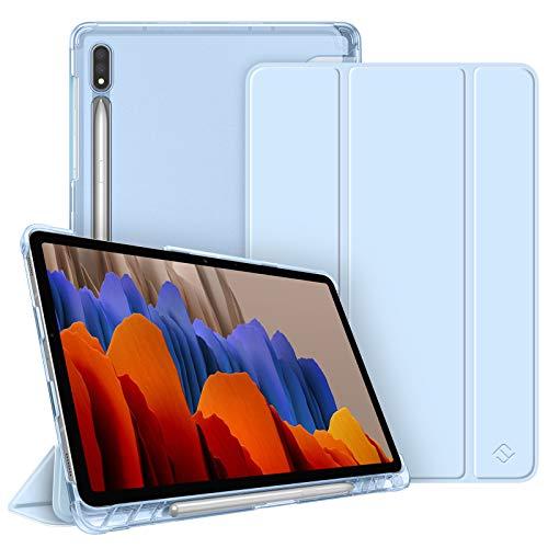 Fintie Hülle für Samsung Galaxy Tab S7 11 2020 - Silm Schutzhülle mit durchsichtiger Rückseite Abdeckung Cover, Auto Schlaf/Wach Funktion für Samsung Tab S7 SM-T870/875 Tablet, Himmelblau